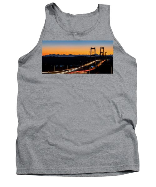 Sunset Over Narrrows Bridge Panorama Tank Top by Rob Green