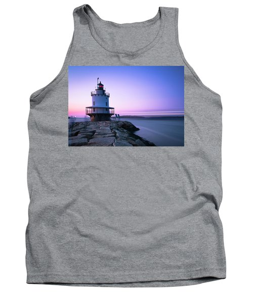 Sunset Over Spring Breakwater Lighthouse In South Maine Tank Top