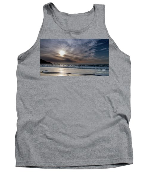 Sunset Over West Coast Beach With Silk Clouds In The Sky Tank Top