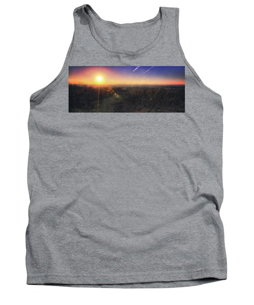 Tank Top featuring the photograph Sunset Over Wisconsin Treetops At Lapham Peak  by Jennifer Rondinelli Reilly - Fine Art Photography
