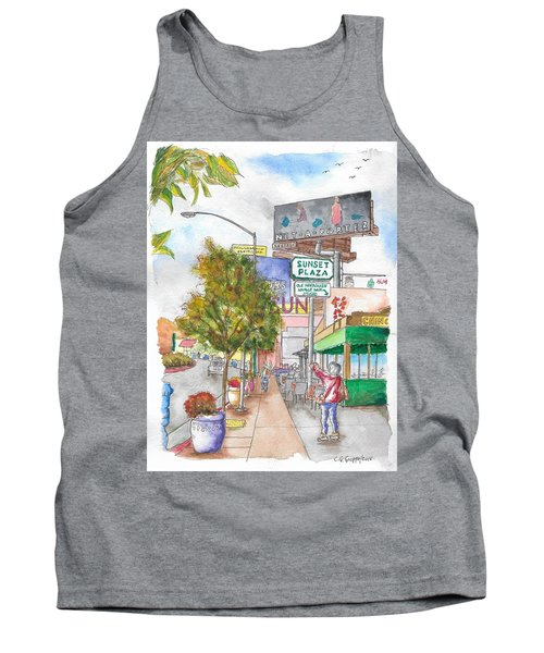 Sunset Plaza, Sunset Blvd., And Londonderry, West Hollywood, California Tank Top