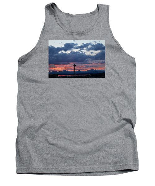 Sunset Red Clouds And Space Needle Tank Top by Suzanne Lorenz