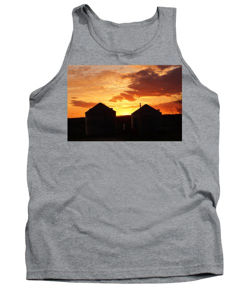 Tank Top featuring the digital art Sunset Silos by Jana Russon