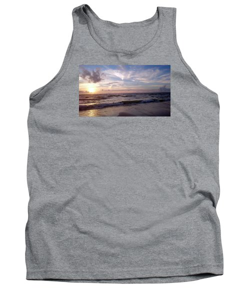 Tank Top featuring the painting Sunset Waves  by Vicky Tarcau