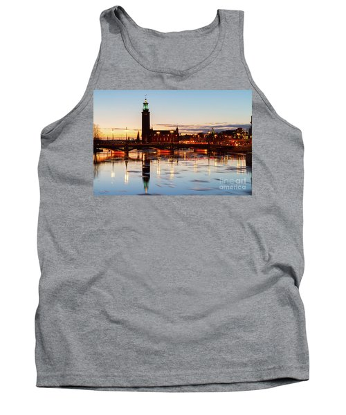 Sunset With Cityhall Of Stockholm Tank Top by Anastasy Yarmolovich