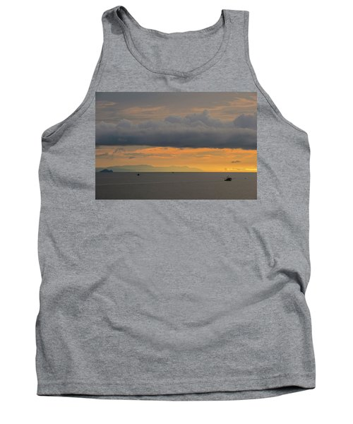 Sunset With Fishing Boats At Sea Tank Top