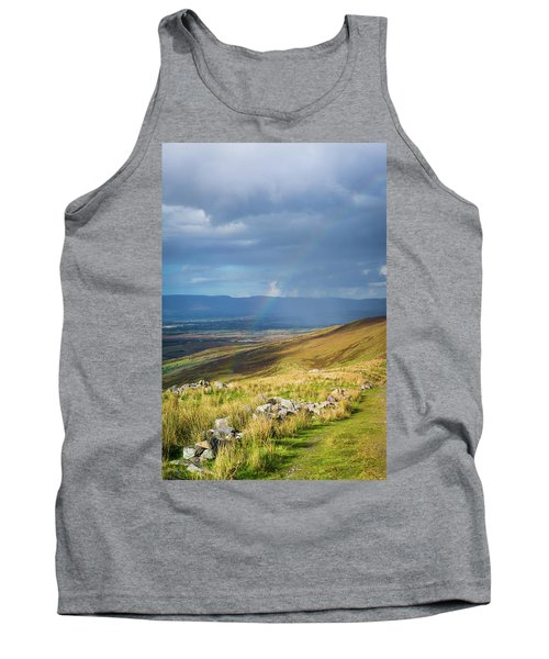 Tank Top featuring the photograph Sunshine And Raining Down With Rainbow On The Countryside In Ire by Semmick Photo
