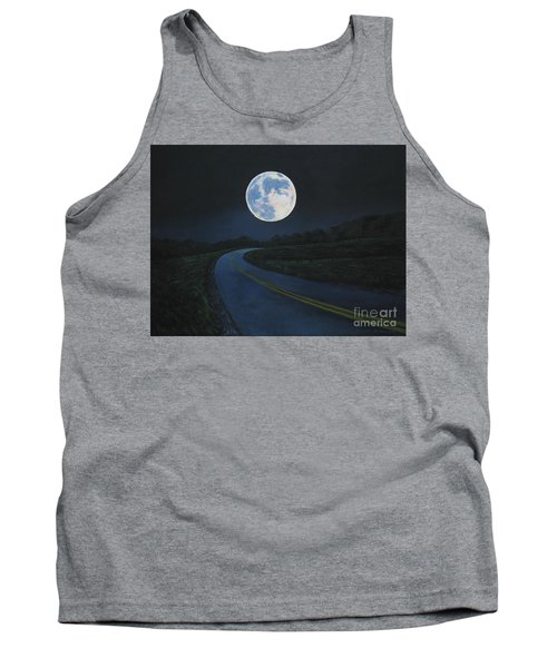 Tank Top featuring the painting Super Moon At The End Of The Road by Christopher Shellhammer