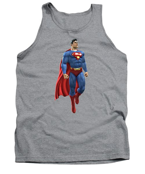 Tank Top featuring the mixed media Superman Splash Super Hero Series by Movie Poster Prints
