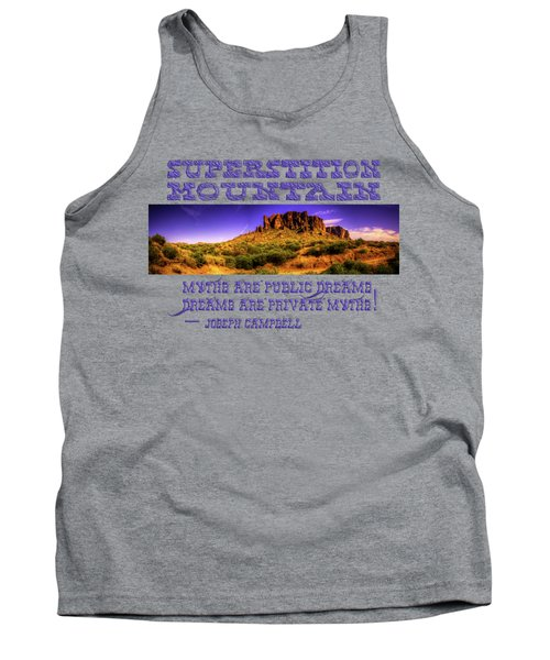 Superstition Mountains In Panorama Late Afternoon Tank Top