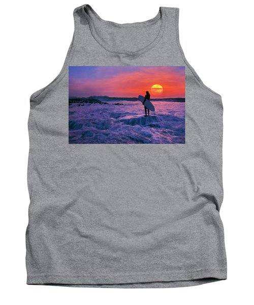 Surfer On Rock Looking Out From Blowing Rocks Preserve On Jupiter Island Tank Top