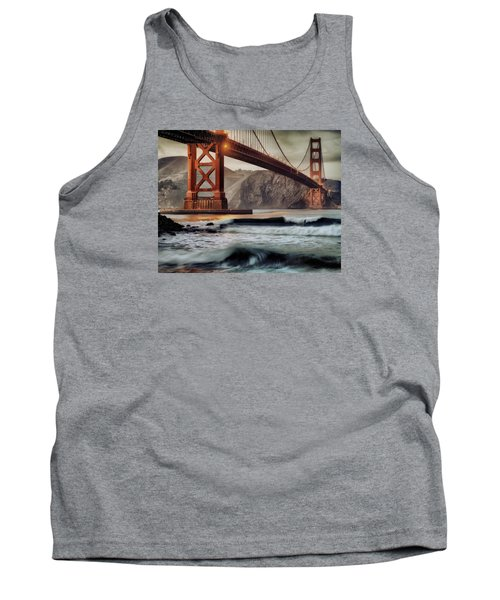 Tank Top featuring the photograph Surfing The Shadows Of The Golden Gate Bridge by Steve Siri