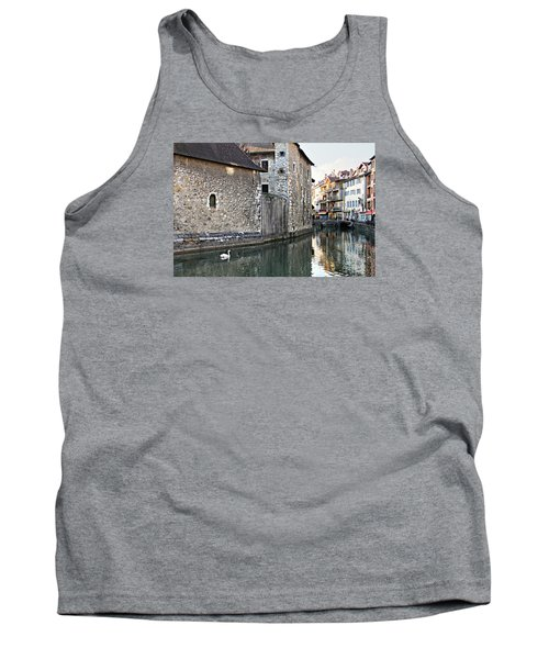 Swan In Annecy France Canal Tank Top