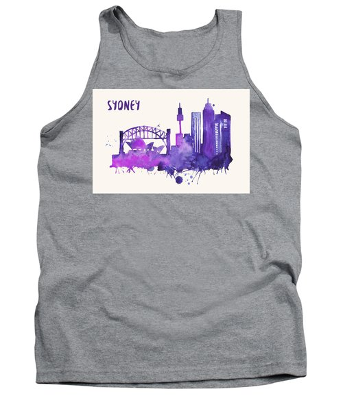Sydney Skyline Watercolor Poster - Cityscape Painting Artwork Tank Top by Beautify My Walls