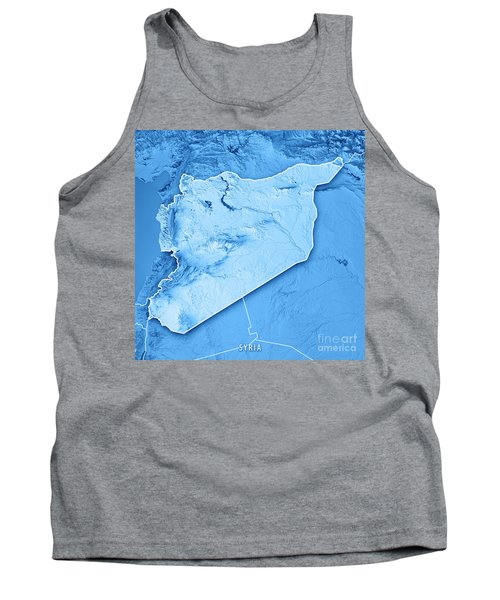 Syria Country 3d Render Topographic Map Blue Border Tank Top