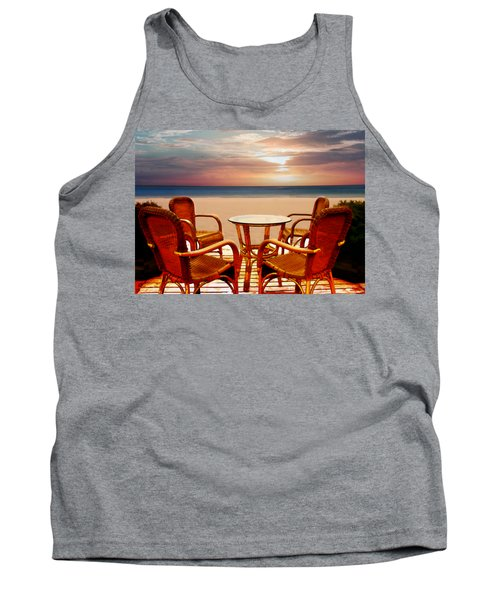 Table For Four At The Beach At Sunset Tank Top