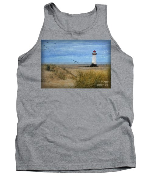 Tank Top featuring the digital art Talacre Lighthouse - Wales by Lianne Schneider