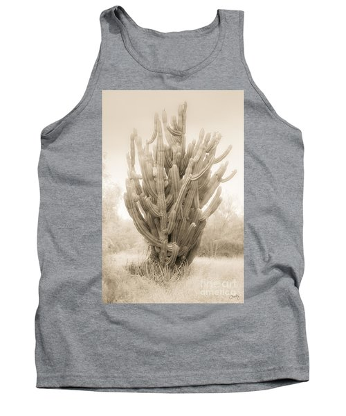 Tall Cactus In Sepia Tank Top