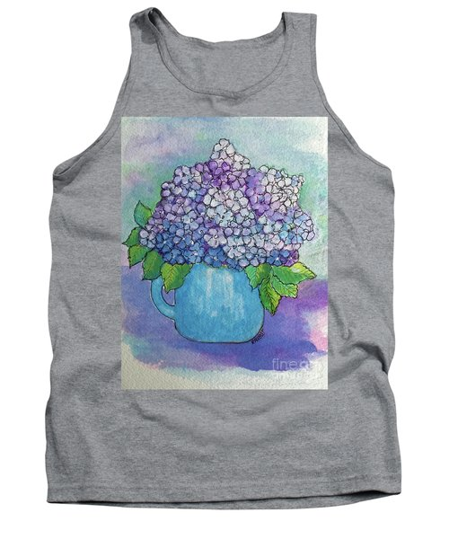 Tank Top featuring the painting Teapot Hydranger by Rosemary Aubut