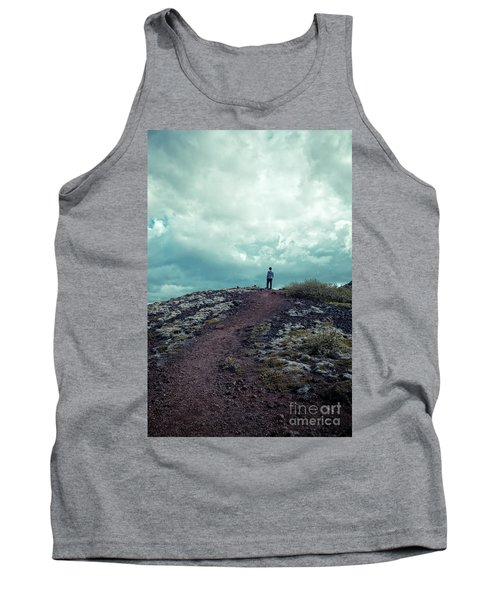 Tank Top featuring the photograph Teenager On A Hiking Trail In Iceland by Edward Fielding