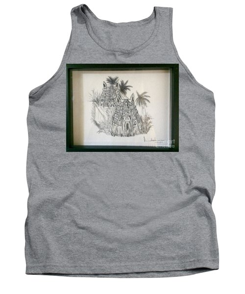Tank Top featuring the painting Temple In Calligraphy Ink by Brindha Naveen