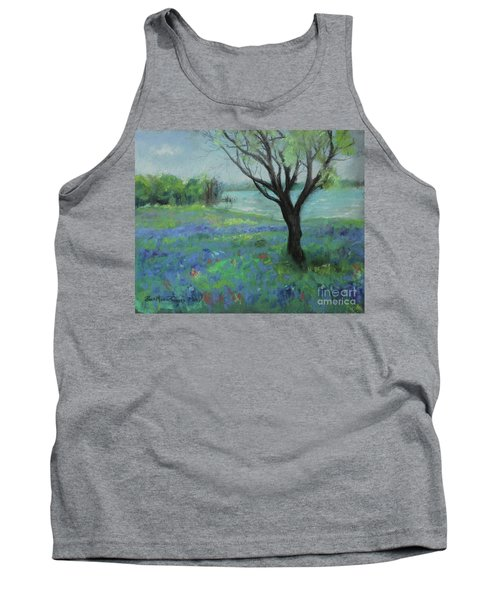 Tank Top featuring the painting Texas Bluebonnet Trail by Robin Maria Pedrero