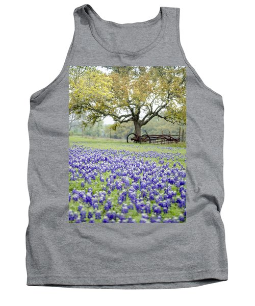 Texas Bluebonnets And Rust Tank Top by Debbie Karnes