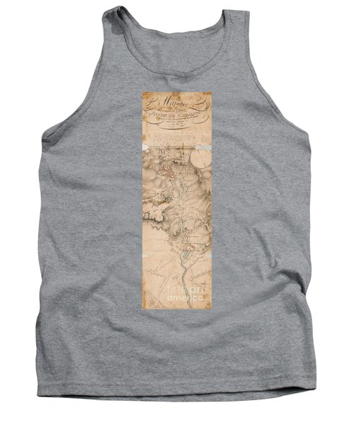 Texas Revolution Santa Anna 1835 Map For The Battle Of San Jacinto  Tank Top
