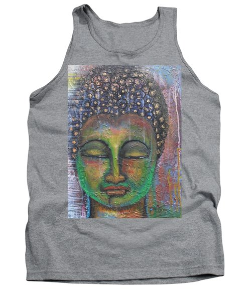 Textured Green Buddha Tank Top by Prerna Poojara