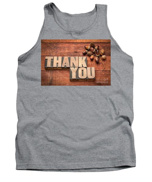 Than You Typography In Wood Type Tank Top