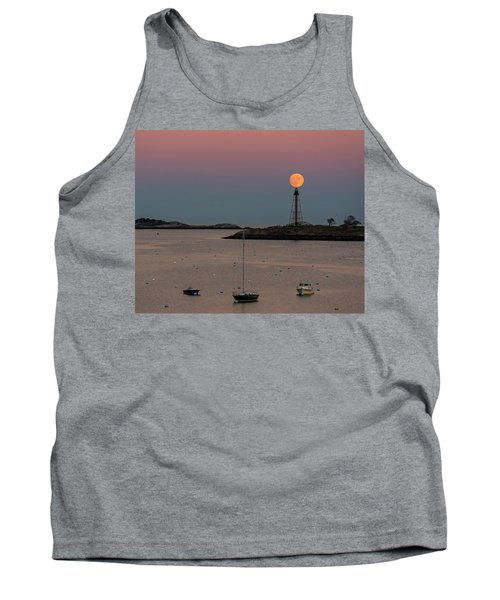 The 2016 Supermoon Balancing On The Marblehead Light Tower In Marblehead Ma Tank Top