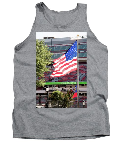 Tank Top featuring the photograph The Flag Flying High Over Sanford Stadium by Parker Cunningham
