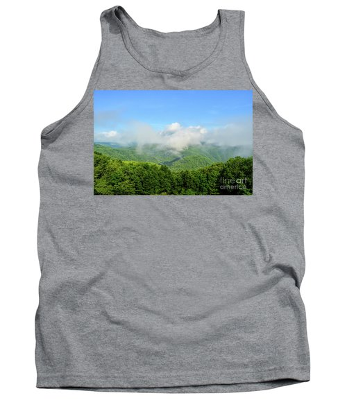 Tank Top featuring the photograph The Fog Rises Over The Bluestone Gorge - Pipestem State Park by Kerri Farley