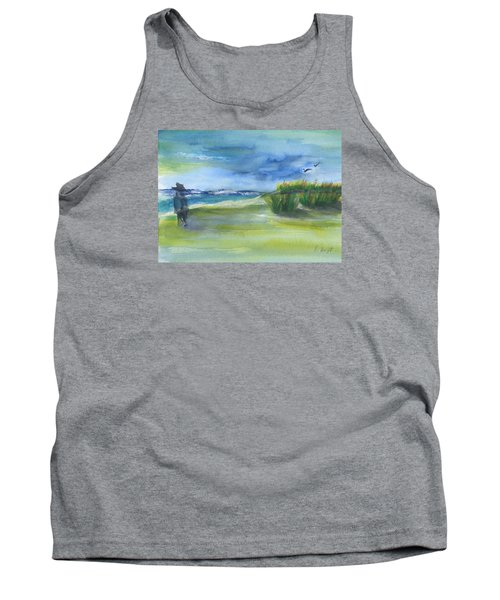 Tank Top featuring the mixed media The Gray Man Visits Pawleys Island Sc by Frank Bright