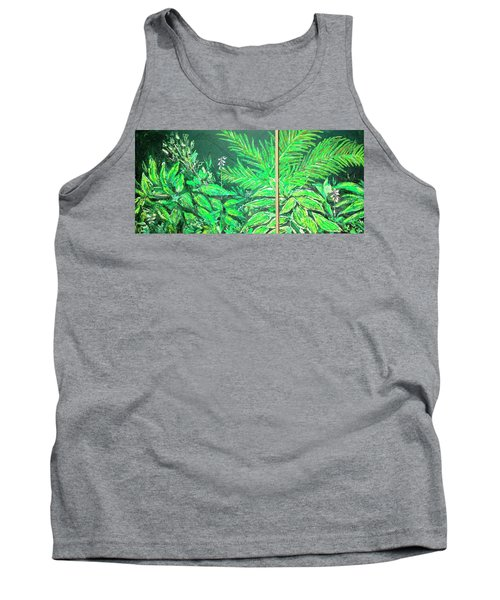 Tank Top featuring the painting The Green Flower Garden by Darren Cannell