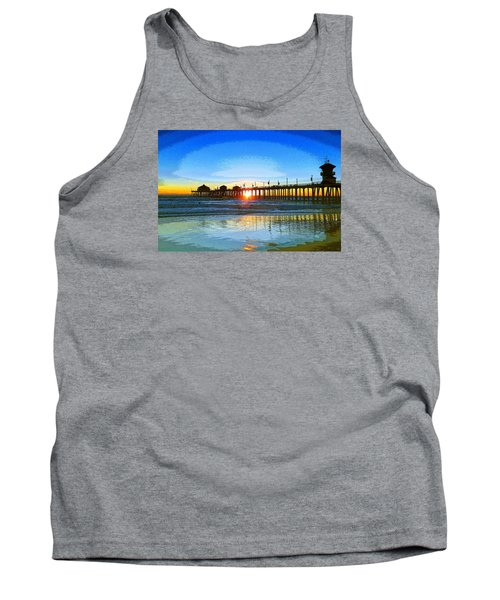 Tank Top featuring the photograph The Huntington Beach Pier by Everette McMahan jr