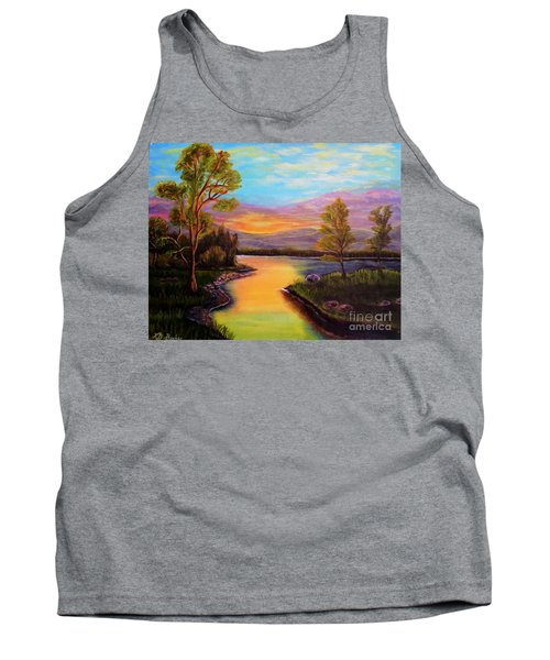 The Liquid Fire Of A Painted Golden Sunset Tank Top