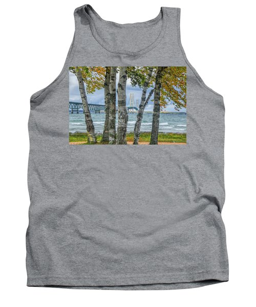 The Mackinaw Bridge By The Straits Of Mackinac In Autumn With Birch Trees Tank Top