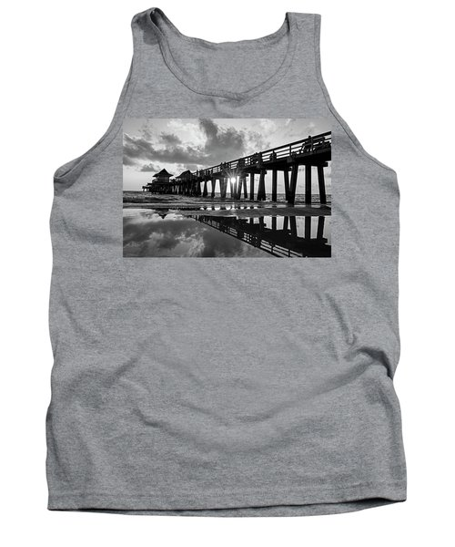 Naples Pier At Sunset Naples Florida Black And White Tank Top