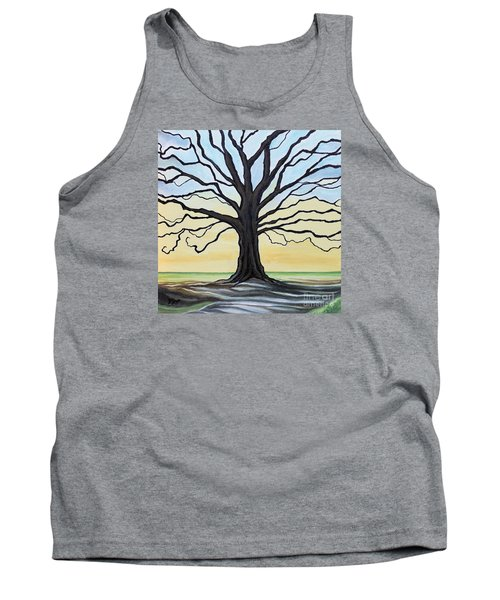 Tank Top featuring the painting The Stained Old Oak Tree by Elizabeth Robinette Tyndall