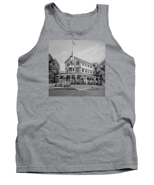 Tank Top featuring the pastel The Parker House Black And White by Melinda Saminski