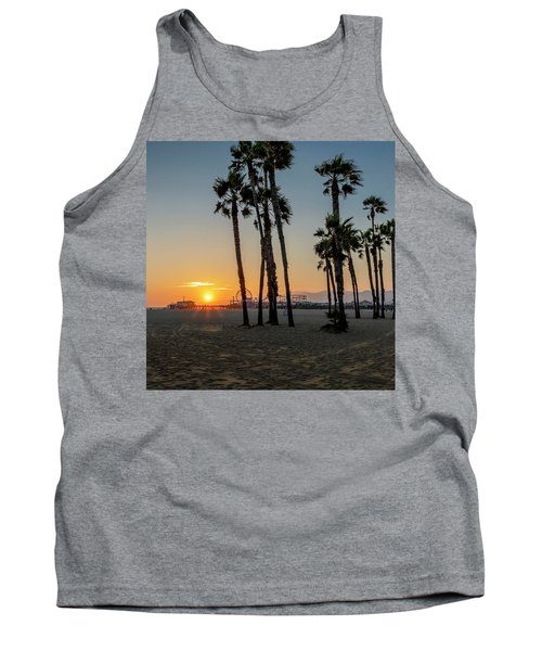 The Pier At Sunset - Square Tank Top