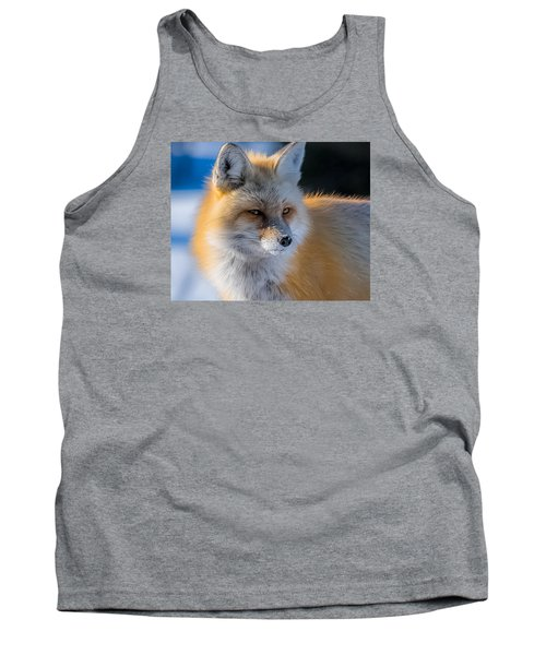Tank Top featuring the photograph The Red Fox Portrait In Snow by Yeates Photography