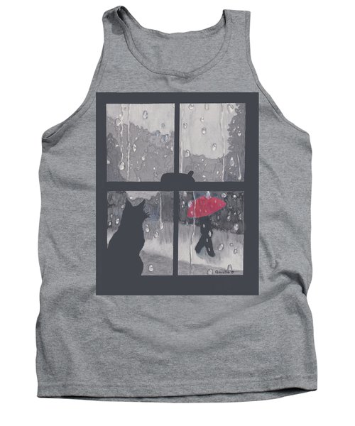 Tank Top featuring the painting The Red Umbrella by Quwatha Valentine