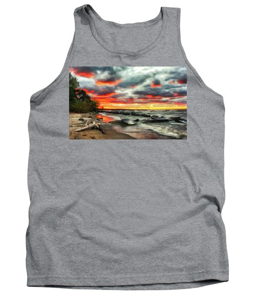 The Sky On Fire At Sunset On Lake Erie Tank Top