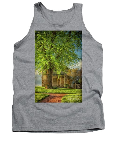 Tank Top featuring the photograph The Stone Cottage On A Spring Evening by Lois Bryan