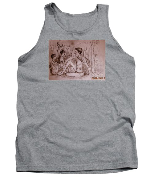 Tank Top featuring the drawing The Traditional Barter System by Jason Sentuf