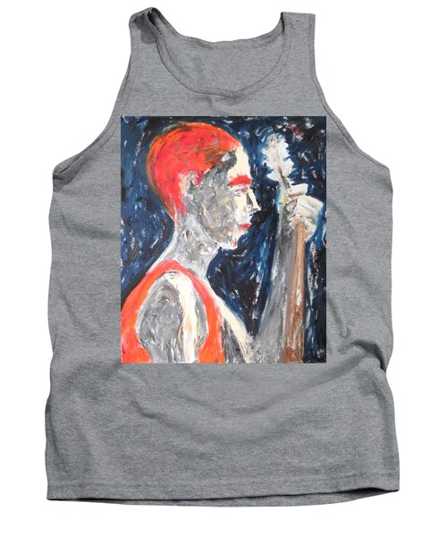 Tank Top featuring the painting The Turkish Baglama Player by Esther Newman-Cohen