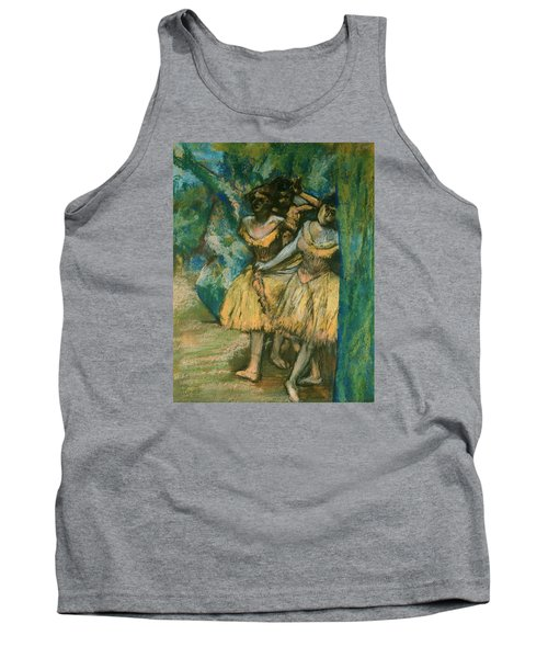 Three Dancers With A Backdrop Of Trees And Rocks Tank Top