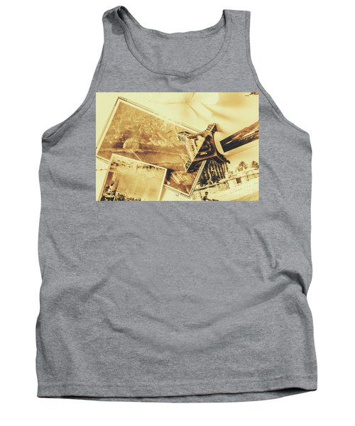 Toned Image Of Eiffel Tower And Photographs On Table Tank Top